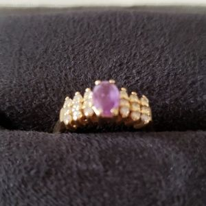 Jewelry - Amethyst ring w/ diamond chips